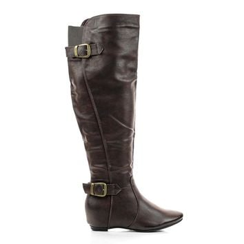 Amar14X Knee High Back Buckle Strapped Classic Riding Boots