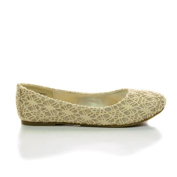 ScolyIIS Childrens Girl Beige Lace Glitter Ballet Slip On Dress Flats