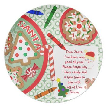 Custom Text Christmas Cookies For Santa Plate