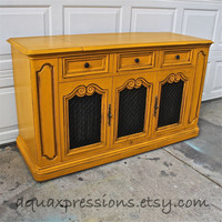 Vintage Stereo Cabinet/ Butternut Squash Yellow/ Storage Cabinet/ Living Room Furniture, Custom Paint to Order