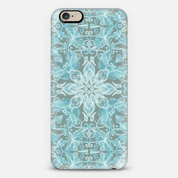 Soft Teal Blue & Grey hand drawn floral pattern iPhone 6 case by Micklyn Le Feuvre | Casetify