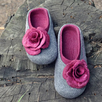 Felted slippers - Grey & Bordo - Made to order