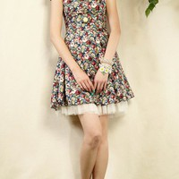 Floral Printing A-line Dress - Oasap High Street Fashion