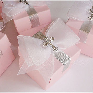 Elegant Girls Pink Baptism Favor Box With Silver Cross And Large White Bow Set Of 24