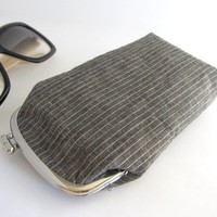 sunglass case-gray stripe-snap case-frame purse