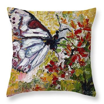 """White Butterfly Impressionist Oil painting Throw Pillow 26"""" x 26"""""""