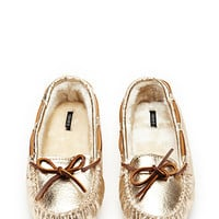 Metallic Faux Leather Moccasins