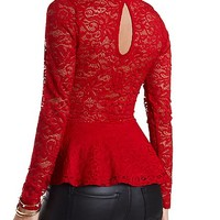 Long Sleeve Lace Peplum Top by Charlotte Russe - Red