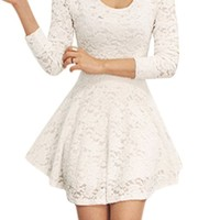 Women Scoop Neck Long Sleeves Casual Lace Skater Dress White S