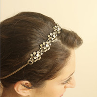 Fayre  Refashioned Rhinestone Vintage Headband by Leanimal on Etsy
