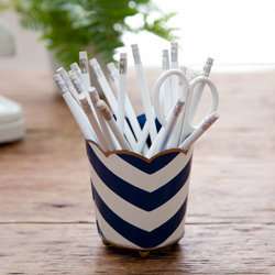 Hand-Painted Chevron Pencil Cup - See Jane Work