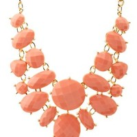Faceted Stone Bib Necklace by Charlotte Russe - Coral