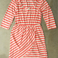 Slim Lines Dress in Coral [3138] - $43.00 : Vintage Inspired Clothing &amp; Affordable Summer Dresses, deloom | Modern. Vintage. Crafted.