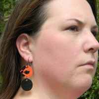 Black and Orange Paper Disc Earrings