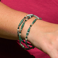 Green Paper Bead Bracelet and Earrings  OOAK