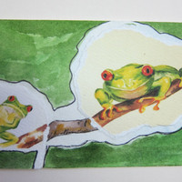 Frogs Watercolor collage ACEO, peekaboo  300 handmade Red eye tree frog
