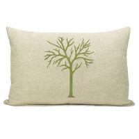 Woodland pillow case - Apple green forest tree print on natural canvas front and damask print back lumbar pillow - 12x18 pillow cover