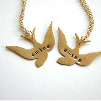 amies - french friends swallow bird necklace set - personalized custom jewelry bff necklace