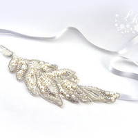 White Lace Pearl Rhinestone Head piece Wedding Jewelry Bridal hair band