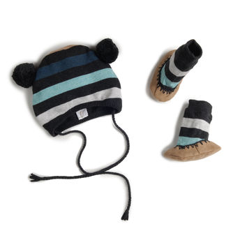 flint striped knit hat and booties set