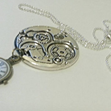 Silver Steampunk Necklace, Steampunk Jewelry, Steampunk Pendant, Steampunk sterling silver