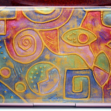 Polymer clay business card holder, OOAK polymer clay design, faux cloisonne, multi color mica powders, resin top, pink metal case