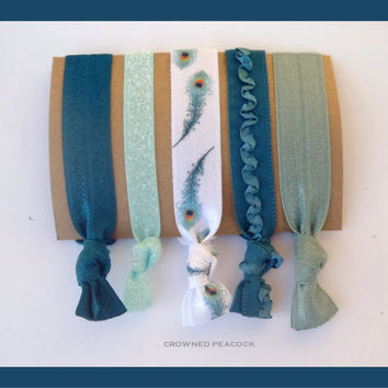 5 PEACOCK feather HAIR TIES No Tug, No Dent,  Yoga, Turquoise Blues and White,Stocking Stuffer Christmas Gift, Cyber Monday Sale