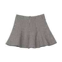 Houndstooth Patterned Flare Mini Skirt