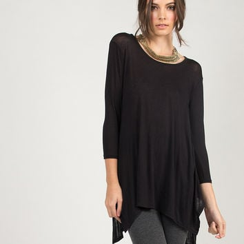 Hi Low Asymmetrical 3/4 Sleeve Top - Black /