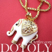 Tribal Elephant Animal Charm Necklace in White and Gold
