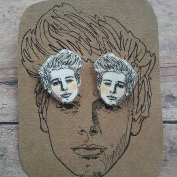 Luke Hemmings/ 5SOS/ Five Seconds of Summer/ Illustrated Earrings