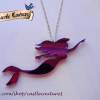 Ariel The Little Mermaid necklace pendant charm laser cut acrylic mirrored purple Disney Mermaid
