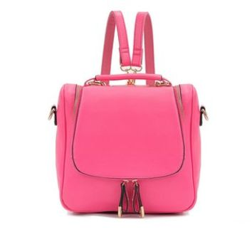 Fashion Solid Color Multifunction Backpack