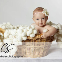 Baby Photo Props Blanket. 3x3 Newborn Puff Photography Prop. 'Marshmallow' Infant Fluffy Texture Rug