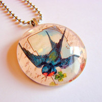 Blue Swallow Bird in Flight Glass Tile Pendant Necklace - Art Charm - Victorian Nature Garden - Includes Ball Chain