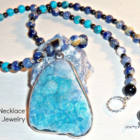 "Men's Necklace ""Strong, Successful & Confident"" 15th Century Machu Picchu inspired-Blue Druzy Quartz, Sodalite, Jasper, Tuquoise, 925 Silver"
