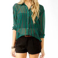Striped Mesh Panel Shirt