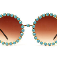 Jenny Turquoise Rhinestone Large Round Fully Studded Sunglasses (Turquoise/Silver)
