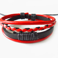 jewelry bangle leather bracelet women bracelet girl bracelet woven bracelet made of leather and ropes wrist bracelet SH-0456