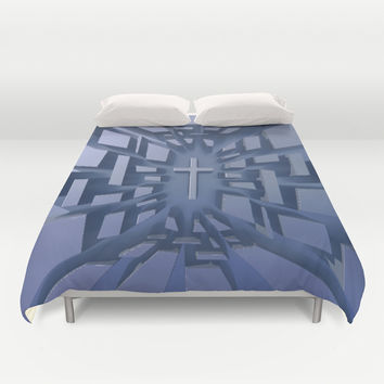 Abstract 3D Christian Cross Duvet Cover by Designs4america