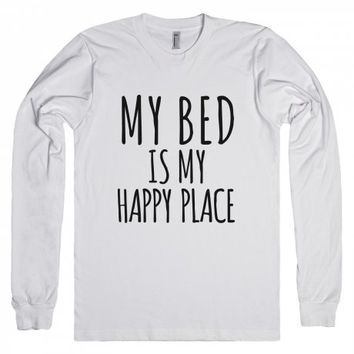 My Bed Is My Happy Place Long Sleeve T-shirt Idc12102308-T-Shirt