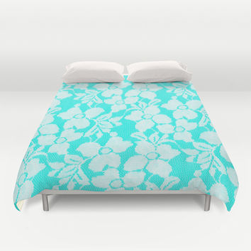 White Lace on Blue Duvet Cover by Alice Gosling