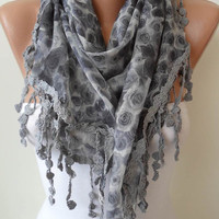 Grey Linen Scarf with Grey Trim Edge - Triangular