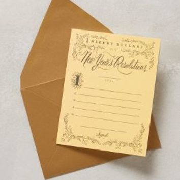 New Year's Resolution Card by Rifle Paper Co. Gold One Size Gifts
