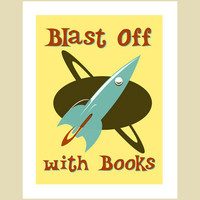 Retro books poster - Blast Off By Visuaria