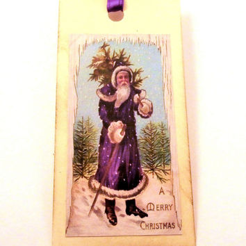 Santa Christmas Tags - Victorian Santa Claus in a Purple Coat with Tree - Gift Tags, Vintage Style Holiday Gift Tags - Set of 6