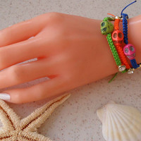 Colorful Skull Bracelets - Macrame Bracelets - Summer Style - Beach - Summer