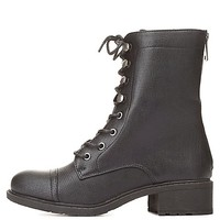 Dollhouse Perforated Combat Boots by Charlotte Russe - Black