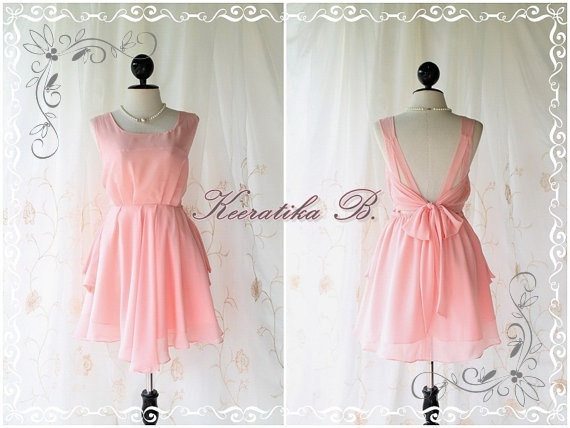 A Party - V Shape - Cocktail Prom Party Dinner Wedding Night Dress Light Candy Pink Brush Lined Deep Back Bow Tie Candy Pink Toned