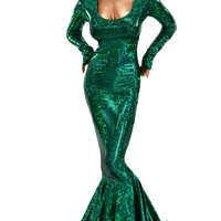 Green Shattered Glass Holographic Puddle Train Gown